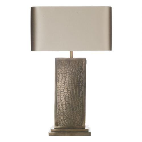 Croc Table Lamp Bronze + Silk Shade CRO4200 (7-10 day Delivery)